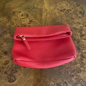 Red foldover clutch/ make up bag